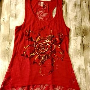 Rose Red & Lace Tank